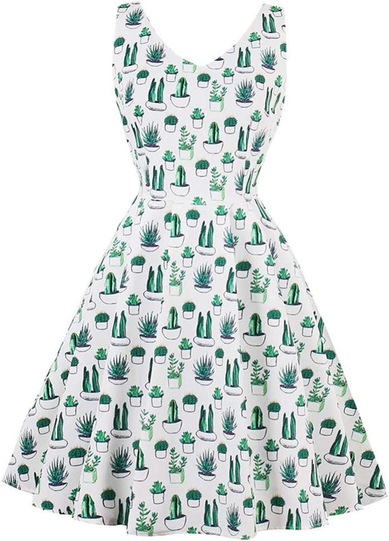 FUZHUANGHM Size 4XL Women Sleeveless Vintage Dress Cactus Print Summer Retro Dress Zipper Elegant Style Party Dress