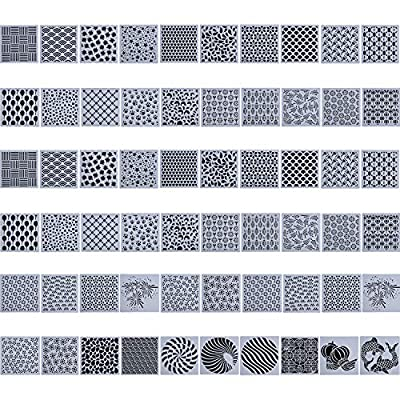 60 Pieces Cake Decorating Stencils Cookie Painting Stencil DIY Baking Templates Molds for Cookie Cupcake Fondant Scrapbooks Crafts Decor