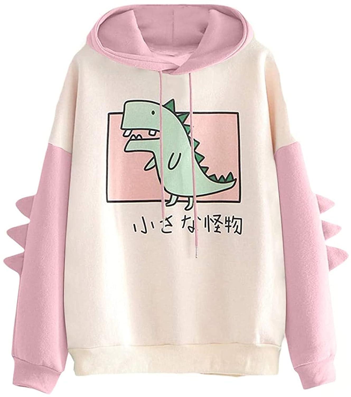 Women's Dinosaur Sweatshirt Long Sleeve Splice Tops Cartoon Cute Hoodies Womens Teens Animal Cute Dinosaur Hooded (XX-Large,Pink)