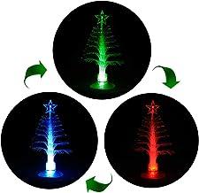 ANGROC LED Mini USB Powered 7 Colors Fiber Optic Seasonal Decorative Christmas Tree with Top Star Light for Merry Christma...