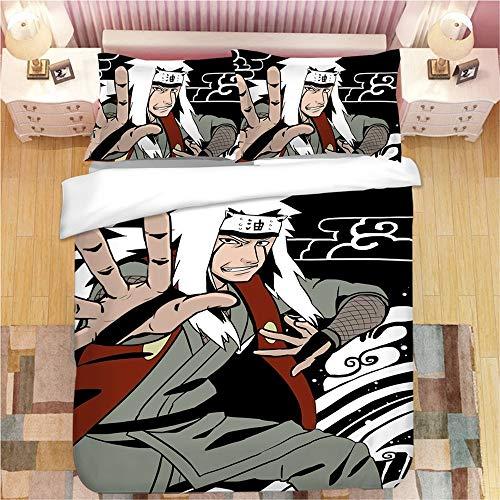 POMJK Nauto - Juego de ropa de cama con 2 fundas de almohada, Akatsuki, Uchiha Madara, Jiraiya, ropa de cama infantil con impresión digital 3D, sin relleno, (7,220 x 240 cm + 80 x 80 cm × 2)