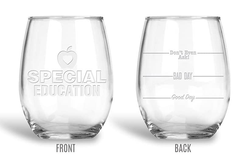 BadBananas Special Education Gifts - Good Day, Bad Day, Don't Even Ask 21 oz Engraved Stemless Wine Glass with Etched Coaster - Gift For Teachers and Educators