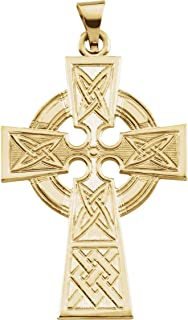 Celtic Halo Cross 14k Yellow Gold Pendant