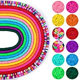 Clay Beads for Jewelry Making, Caffox 4560pcs 6mm Flat Round Beads, Polymer Clay Disc Beads Heishi Vinyl Beads for Bracelets Earrings and Necklaces