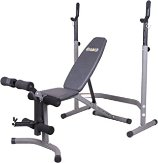 Body Champ Olympic Weight Bench with Leg Extension Curl Lift Developer Attachment / 2 Piece Combo Bench and Squat Rack Stand BCB3780