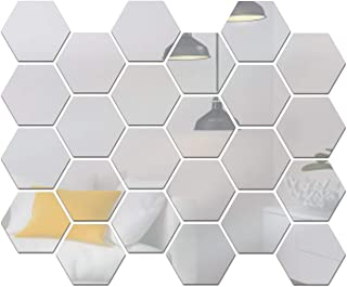 Adaskala 24PCS Hexagon Mirror Wall Stickers Removable Wall Decals Acrylic Decorative Mirror DIY Home Decorations for Bedro...