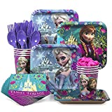 Designware Disney Frozen Party Supplies Pack Including Plates, Cutlery, Cups, Napkins for 8 Guests