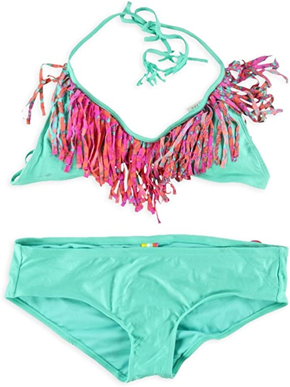 Raisins Ombre Fringe Tankini Top Womens Swimsuit Small