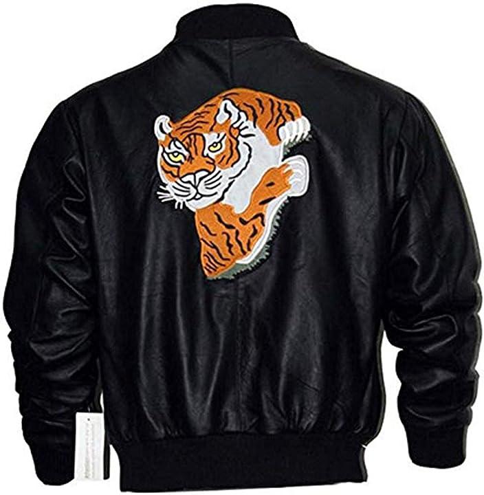 Bomber giacca rocky 2  sylvester stallone tiger giacca nera eu fashions B07T7VKDDV