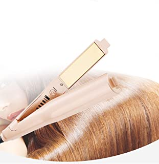 Professional Styling Tool,2 in 1 hair straightener and curler,Gold-plated Titanium Plates,Dry and Wet Dual-use,Different Degrees Levels for Different Quality Hairs,Easy to Carry (Gold)