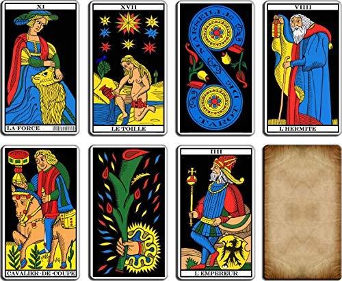 L'authentique Tarot de Marseille - Jeu de 22 Lames - Cartes de voyance avec Explication complète des 22 Cartes - Jeu Tarot Divinatoire Marseille