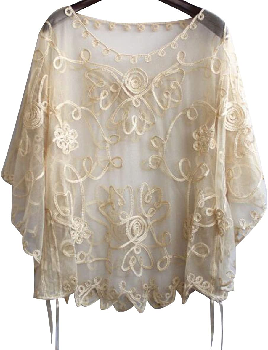 Sexy Pullover Half Sleeve Cover Up Loose Shawl Perspective Lace Bolero Shrug