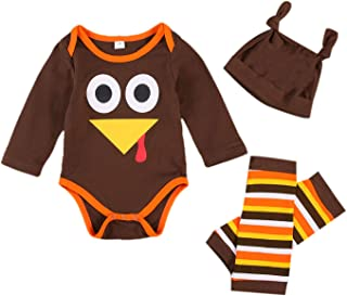 Newborn Baby Boy Girl Thanksgiving Outfit Long Sleeve Turkey Romper+Striped Leg Warmers+Solid Color Hat 3pcs Clothes Set