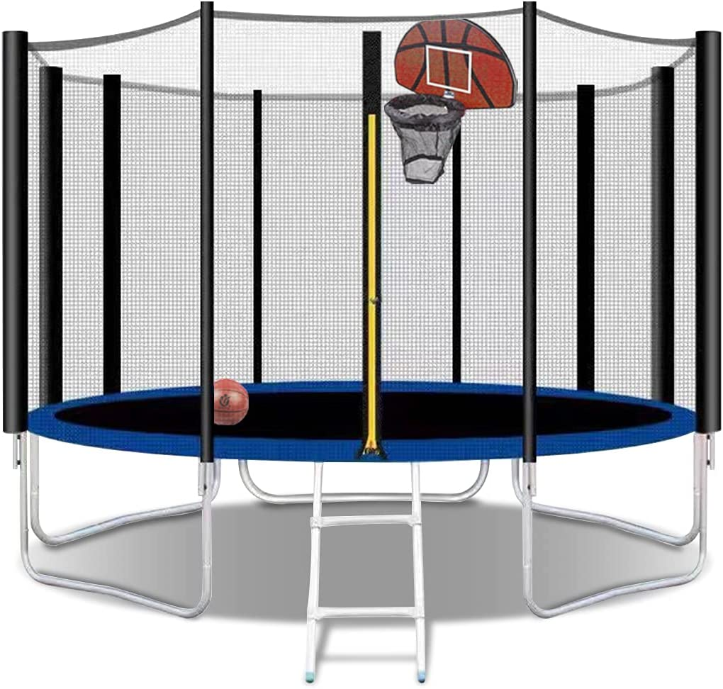 MAFOROB 12FT Round Topics on TV ! Super beauty product restock quality top! Trampoline with Basketb Net Enclosure Safety