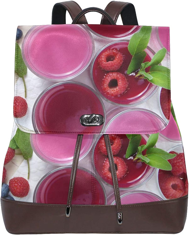 FAJRO Fresh Raspberry Juice Travel Backpack Leather Handbag School Pack