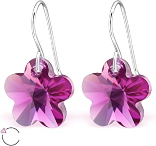 925 Sterling Silver Fuchsia Swarovski Crystal Flower Fishhook Earrings 27944