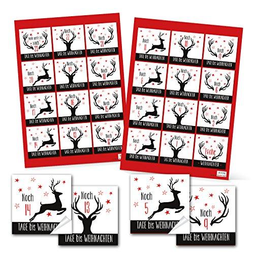 Adventskalendergetallen 1 tot 24 om te knutselen voor kinderen 6 x 6 cm zwart wit rood HIRSCH gewei rendier stickers adventskalender cijfers kerstkalender papieren zakjes Adventzakken dichtplakken