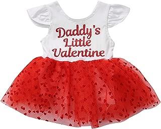 Baby Girls Valentine's Day Dress Ruffle Sleeve Daddy's Little Valentine Bodysuit Tutu Outfit