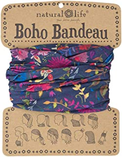 """Natural Life Boho Bandeau Headband - Versatile, Wide, Hairband That Stays In Place, 12 Ways To Wear, The Perfect Accessory - Navy Wildflowers 18""""L x 10""""W"""
