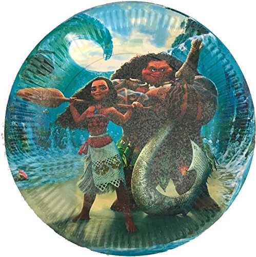 """30 pcs Moana Paper Plates, Large Round 9"""" inch Dinner plates, Partyware tableware Party Decorations Disney Movie Maui Hawaii Luau"""