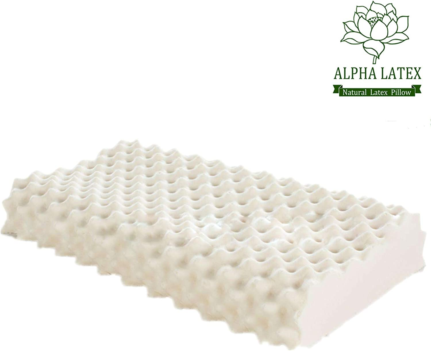 ALPHA LATEX Latex Pillow, Thailand Natural Latex Massage Pillow for Stress Relief Soft Breathable Organic Latex Cervical Pillow - Promote Blood Circulation and Improve Sleeping Quality