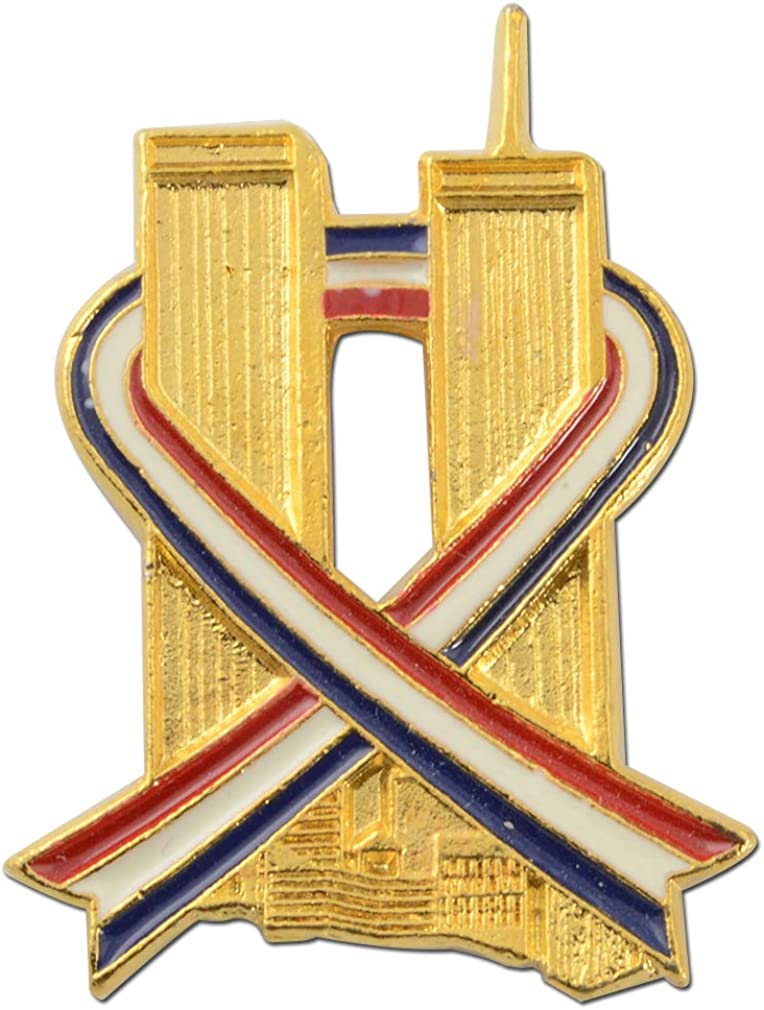 StockPins Twin Towers Red White Blue Ribbon Lapel Pin