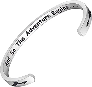 Graduation Gift Jewelry and So The Adventure Begins Cuff Bangle Bracelet New Adventure Gift Inspirational Class of 2020 Graduates Gift Going Away Jewelry
