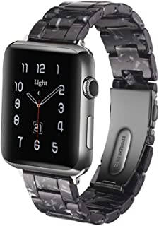 Light Apple Watch Band - Fashion Resin iWatch Band Bracelet Compatible with Copper Stainless Steel Buckle for Apple Watch ...