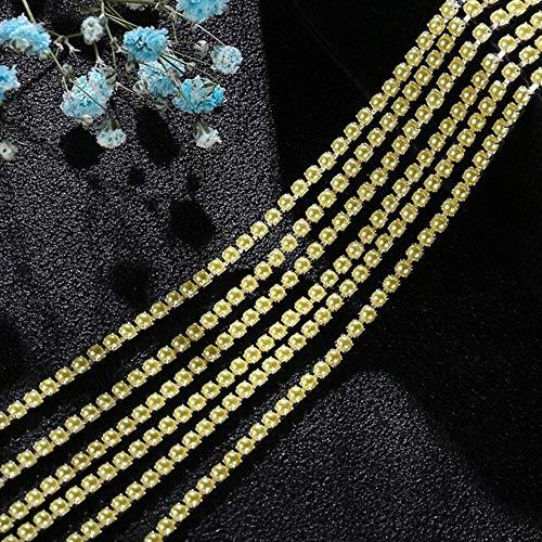 Feilang 15 colores 2 mm/2,5 mm tamaño cadena de perlas resina 2 yardas/bolsa material DIY colorido garra cadena rhinestone accesorios de costura, citrino, 2,5 mm