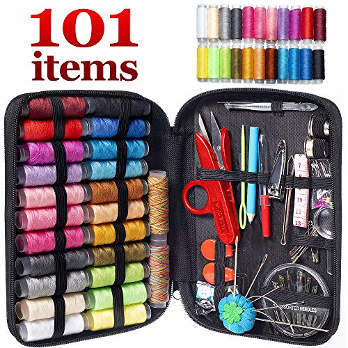 MYFOXI Sewing Kit for Adults, Kids, Home, Travel, Sew Repair, – 101pc Deluxe Mini Sewing Supplies Set with Thread and Needle, Stitch Ripper, Buttons, Safety Pins, Zippered Organizer Sew Box