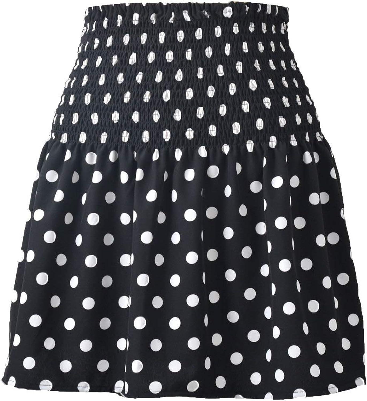 Aislor Women's Casual Polka Dot Print Shirred High Waist Ruffle Hem A-Line Flared Mini Skirt