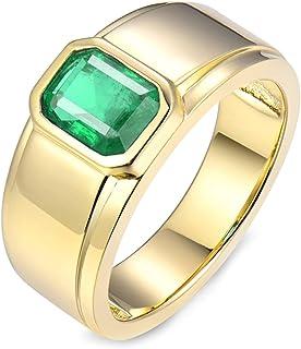 Daesar Anello Oro Giallo Fidanzamento 18K, Anelli Uomo Matrimonio Anelli Smeraldo Uomo 1.59ct Rettangolo Anello Oro Giallo...