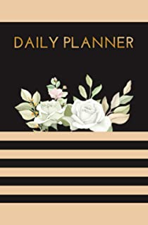 Daily Planner: To Do List Checklist Floral Golden Notebook To Achieve Goals, Increase Productivity, And Time Management.