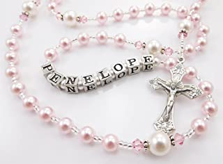 Personalized Rosary Beads in Pink and White, Swarovski Pearls and Crystals, Custom Colors, Handmade Baptism or First Communion Gift for a Girl