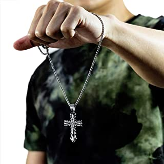 Men Stainless Steel Vintage Classic Cross Hip Hop Trendy Pendant Amulet Handmade Necklace-Pearl Chain