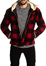 Mens Plaid Hoodie Fleece Jackets Sherpa Full Zip Checkered Faux Fur Wool Winter Button Down Coats Warm Outwear