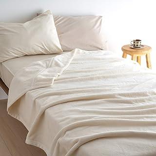 西川 綿毛布 シングル 綿100% クリエ ヒート コットン コットンケット 吸湿発熱 シール織り 日本製 50281 無着色ベージュ[30]99044 シングル