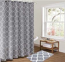"Pauwer Bath Rug and Shower Curtain Set, Microfiber Non Slip Bathroom Rug 21""×34"", Geometric Fabric Shower Curtain 72""×72"" ..."