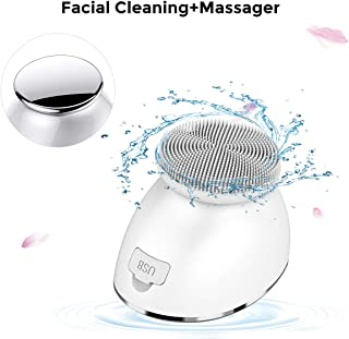 【New Version】2 in 1 Facial Cleansing Brush and Hot Face Massager, IPX7 Water-proof Facial Cleansing Device,5 Function Modes for Deep Cleansing and Boost Effects of Skin Care Cream,Serum by Landw