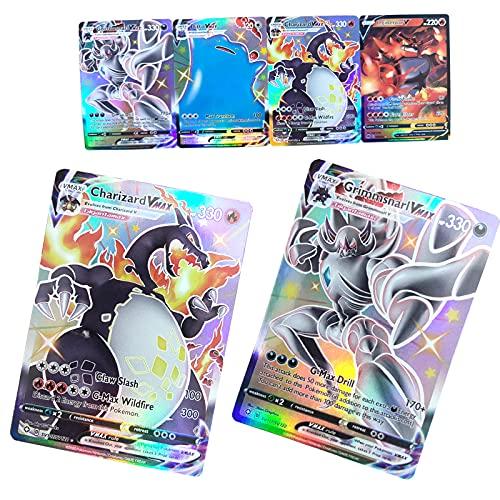 BULANUO Carte Pokémon, 20 Cartes VMAX GX Flash Trading Puzzle Jeu de Cartes Amusant - (17 V + 3 VMAX)