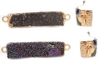1pc Iris Multicolor Rainbow Natural Druzy Ice Quartz Agate Gemstone Stone Gold Plated Brass Rectangle Bar Connectors Pendants Metal Findings
