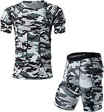 DGXINJUN Padded Compression Men Shirt Rib Chest Thighs Protector Camo Paintball