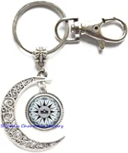 Compass Libra Key Ring, Steampunk Libra Key Ring, Libra Jewelry Libra Moon Keychain,Gift for Women Gift for her Handmade Moon Keychain gift-JP419 (C1)