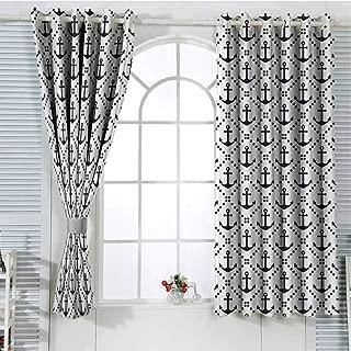 Jinguizi Grommet Window Curtain Blackout Curtain Geometric,Dotted Frames Anchors Pattern Chevron Style Zigzags Nautical Theme Image,Dark Blue White Curtain Panels 72 x 63 inch