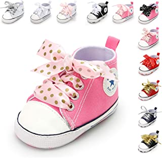 Infant Baby Boys Girls Star High Top Sneaker Soft Sole First Walkers Canvas Polka Dots Shoes Non Slip Bottom for 3-18 Months