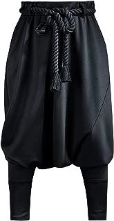 ByTheR Mens Loose Avant Garde Black Aladin Harem Baggy Pants with Rope Belt