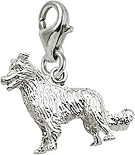Border Collie Dog Charm With Lobster Claw Clasp, Charms for Bracelets and Necklaces