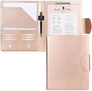 Portfolio Padfolio Case, Skycase Business Portfolio Folder, Resume/Conference/Legal Document Organizer with Letter/A4 Size Clipboard, Business Card Holders, Document Sleeve, Light Gold