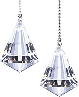 Jovitec 2 Pack Clear Cone Crystal Pull Chain Extension with Connector for Ceiling Light Fan Chain, 1 Meter Long Each Chain