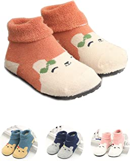 Kids Slippers Socks Floor Socks Shoes for Boys Girls Baby Rubber Bottom Soles Non Skid Non Water Protect Feet